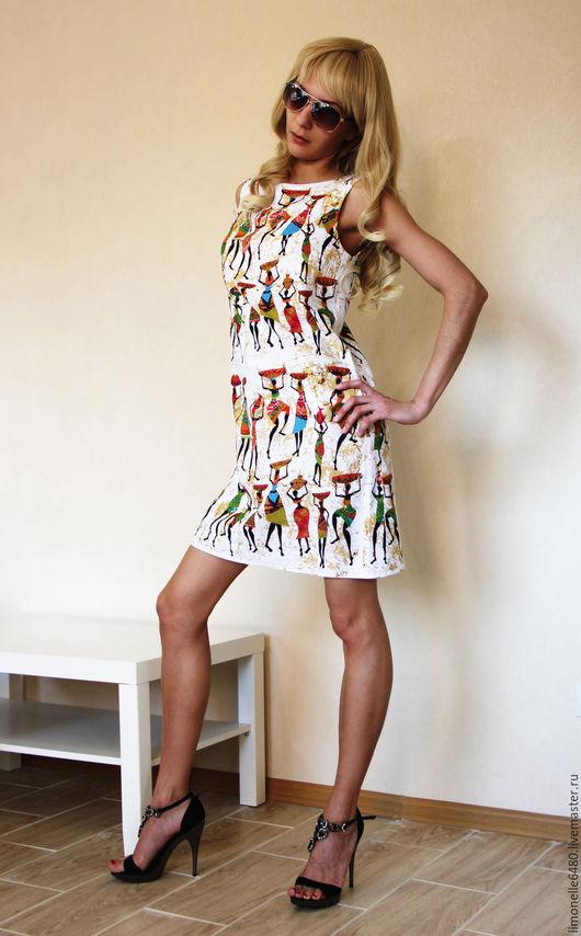 Платья ручной работы. Ярмарка Мастеров - ручная работа. Купить Льняное платье. Ткани нет. Handmade. Комбинированный, африканский стиль
