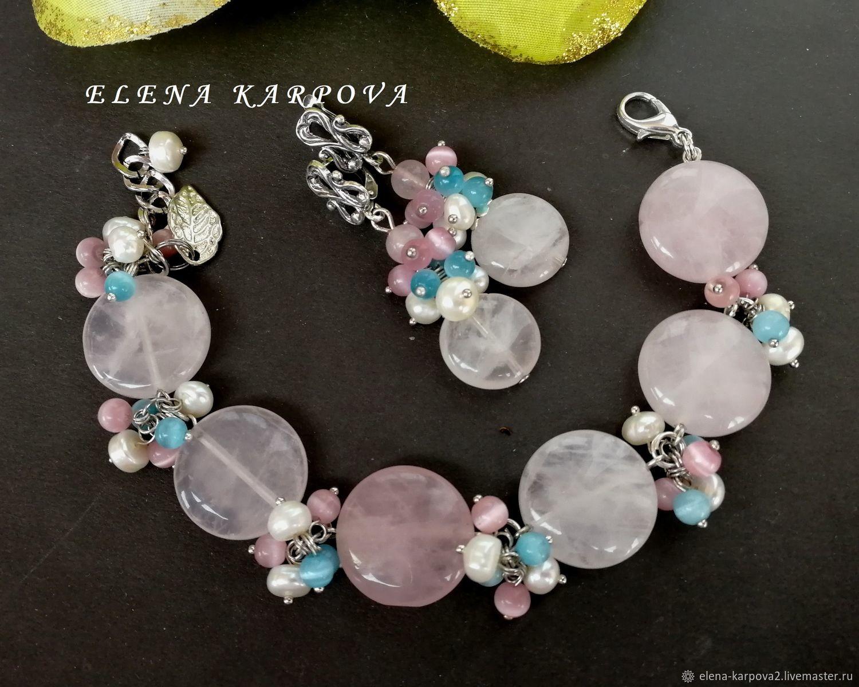 Jewelry Sets handmade. Livemaster - handmade. Buy Lace Set. rose quartz pearl cat's eye.Earrings