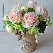 Цветы и флористика ручной работы. Ярмарка Мастеров - ручная работа Букет  из полимерной глины, розы,бутоны пиона,суккуленты. Handmade.