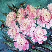 Картины и панно handmade. Livemaster - original item Oil painting pink peonies on the wall. Handmade.