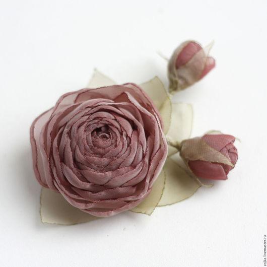 Свадебные украшения ручной работы. Ярмарка Мастеров - ручная работа. Купить Украшение в прическу/брошь невесты шифоновая роза. Handmade. Заколка
