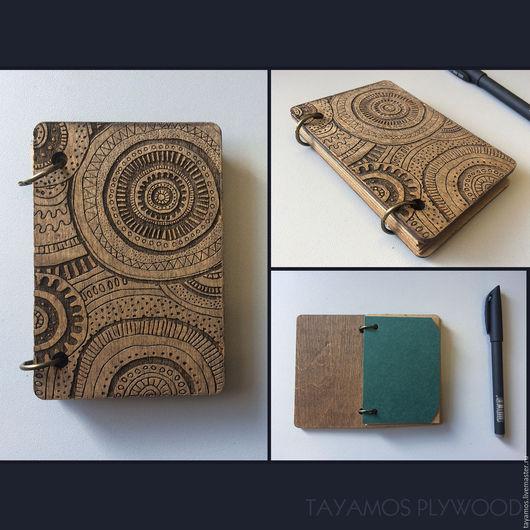 """Блокноты ручной работы. Ярмарка Мастеров - ручная работа. Купить мини блокнот из фанеры """"узоры"""" 7,5х10 см. Handmade."""