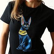 """Одежда ручной работы. Ярмарка Мастеров - ручная работа Роспись футболки """"Египетская"""" кошка. Handmade."""