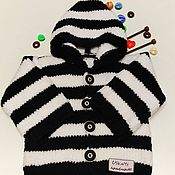 Одежда handmade. Livemaster - original item Knitted children`s jacket with a hood made of plush yarn. Handmade.