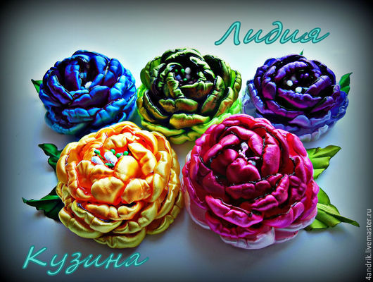 Цветы ручной работы. Ярмарка Мастеров - ручная работа. Купить Цветы из атласных лент на различных основах. Handmade. Разноцветный, розовый