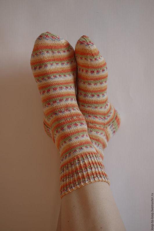 Носки, Чулки ручной работы. Ярмарка Мастеров - ручная работа. Купить Вязаные полосатые носочки с хлопком. Handmade. Комбинированный