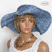 """Аксессуары ручной работы. Ярмарка Мастеров - ручная работа Шляпа """"Джинсовый жаккард"""" женская синяя летняя. Handmade."""