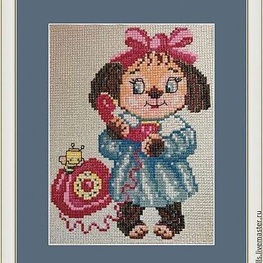 """Картины и панно ручной работы. Ярмарка Мастеров - ручная работа Картина """"Алло"""" вышивка крестиком для детской комнаты. Handmade."""