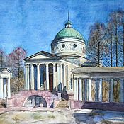 Pictures handmade. Livemaster - original item Colonnade in the Museum-estate Arkhangelsk. Watercolor. 2017. Handmade.