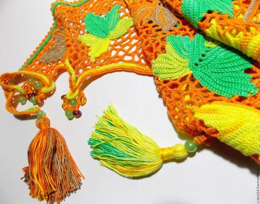 Шали, палантины ручной работы. Ярмарка Мастеров - ручная работа. Купить Бактус вязаный Осенний листопад  в ирландском кружеве. Handmade.