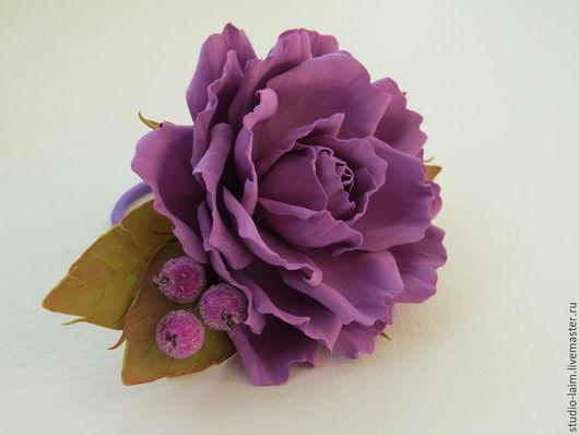 Детская бижутерия ручной работы. Ярмарка Мастеров - ручная работа. Купить Резинка для волос Лавандовая роза. Handmade. Лавандовый