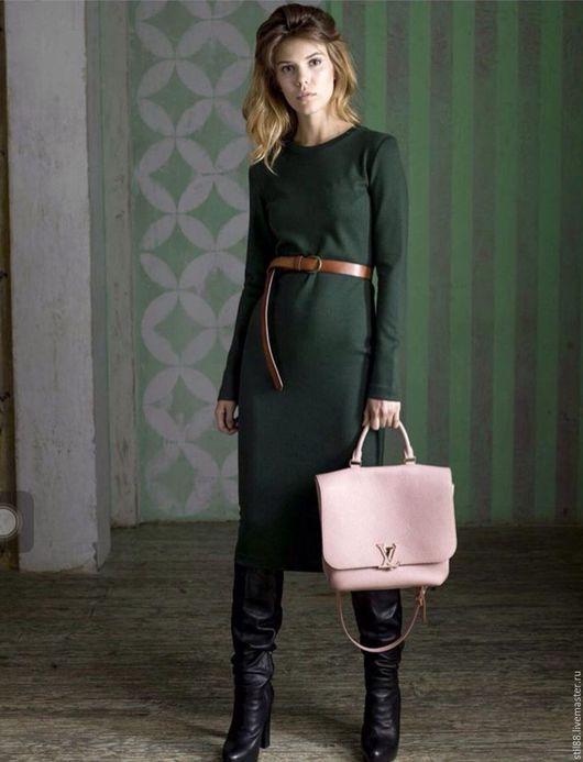 Платья ручной работы. Ярмарка Мастеров - ручная работа. Купить Платье длинное из джерси. Handmade. Тёмно-зелёный, платье из джерси
