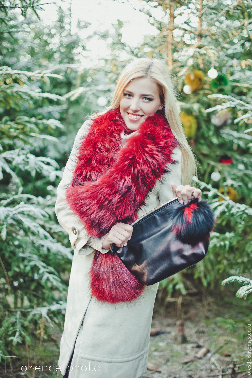 Raccoon fur scarf in red, Scarves, Moscow,  Фото №1