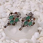 Украшения handmade. Livemaster - original item Silver earrings with emerald.. Handmade.