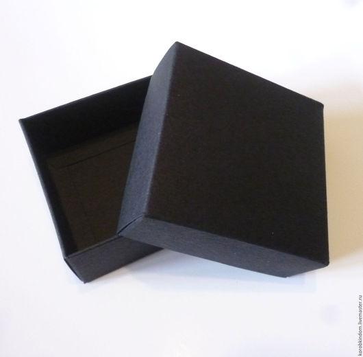 """Упаковка ручной работы. Ярмарка Мастеров - ручная работа. Купить Коробочка 7х7х3 """"крышка-дно"""" черная из фактурного картона. Handmade."""