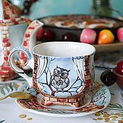 "Посуда handmade. Livemaster - original item Чайная фарфоровая пара ""Совиная"". Handmade."