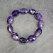 Украшения handmade. Livemaster - original item Chic natural amethyst cut bracelet. Handmade.