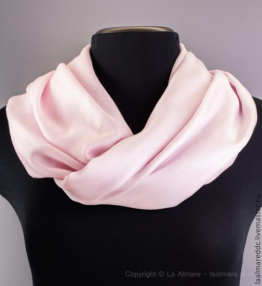 Шарфы и шарфики ручной работы. Ярмарка Мастеров - ручная работа. Купить Шарфик-трансформер, нежно-розовый, светло-розовый с кистями. Handmade.