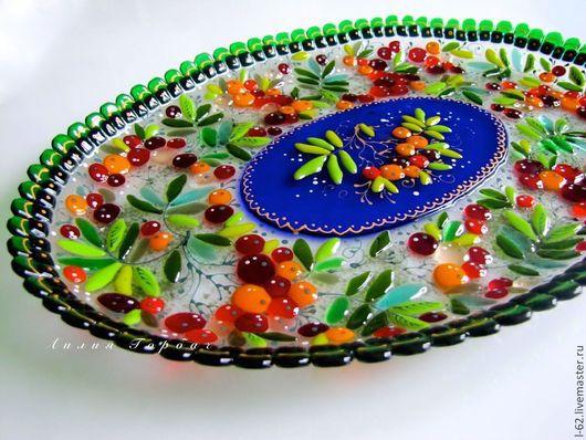 Тарелки ручной работы. Ярмарка Мастеров - ручная работа. Купить блюдо из стекла, фьюзинг   Рябинка. Handmade. Разноцветный, Фьюзинг, блюдо