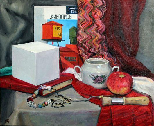 `Натюрморт на красном` Натюрморт, состоящий из вещей художника: холста, куба, кисти, мастихина, книги о живописи и других живописных предметов, которые, кажется, можно взять прямо с холста.