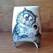 """Посуда ручной работы. Ярмарка Мастеров - ручная работа """"Кошка-мамочка"""" - чашка с ножками. Handmade."""