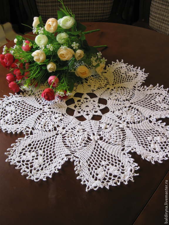 Doily crochet round big sirloin in (No. 102), Doilies, Voronezh,  Фото №1