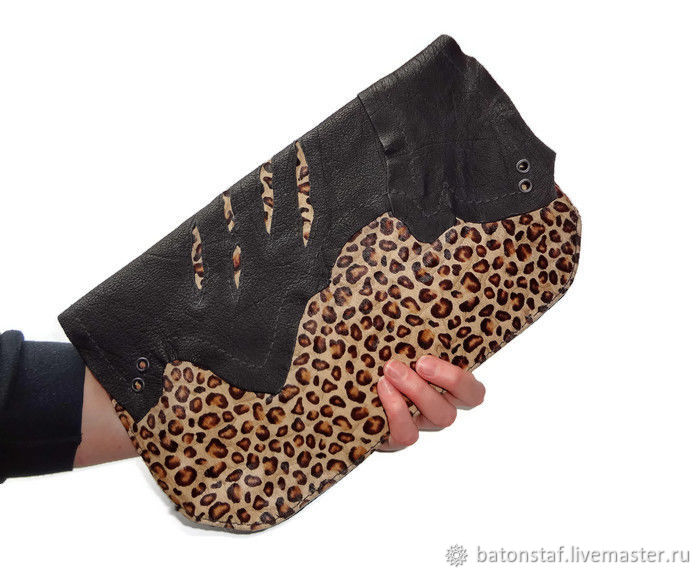 Leather clutch - Leopard, Clutches, Moscow,  Фото №1