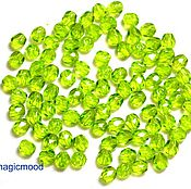 Материалы для творчества handmade. Livemaster - original item 25pcs spacer Beads 4 mm olivine 50230 Czech beads Fire Polished transparent. Handmade.