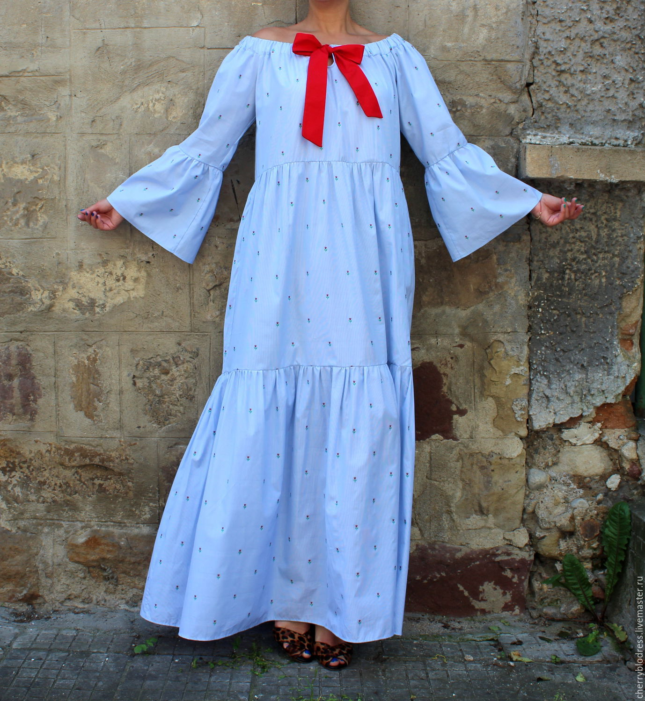 404a5f861fc ... макси бохо платье с длинными рукавами. Платья ручной работы. Ярмарка  Мастеров - ручная работа. Купить Голубое в горошек длинное летнее ...