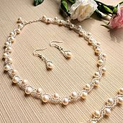 Украшения handmade. Livemaster - original item Freshwater pearl jewelry set wedding. Necklace and bracelet set silver. Handmade.