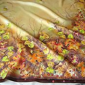 Аксессуары ручной работы. Ярмарка Мастеров - ручная работа Батик. Платок Танец осени.. Handmade.