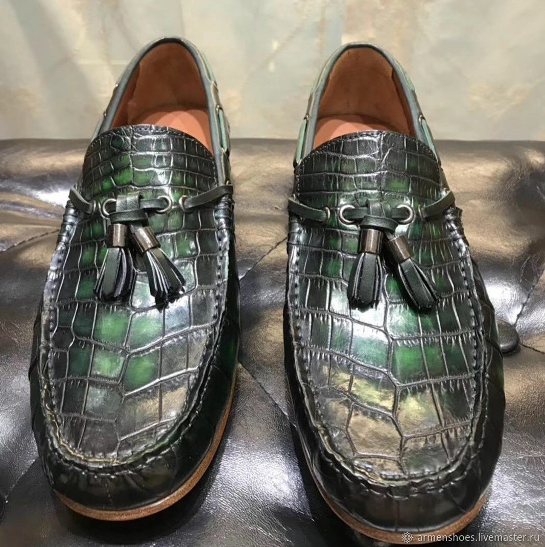 The shoes from crocodile skin, in a dark green color, Boat shoes, Tosno,  Фото №1