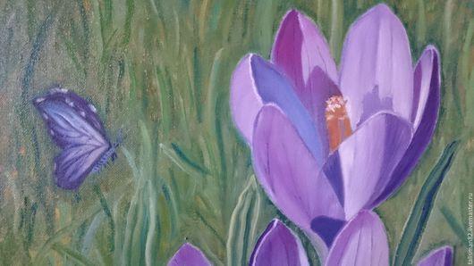 """Картины цветов ручной работы. Ярмарка Мастеров - ручная работа. Купить Картина маслом """" Крокусы """", картина цветы, картина крокусы. Handmade."""