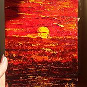 Картины и панно handmade. Livemaster - original item Author`s miniature oil painting sunset