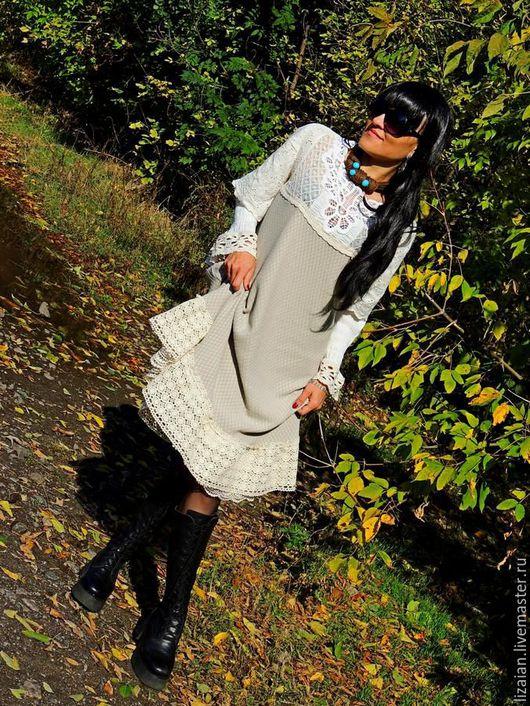 платье ажурное, платье с кружевом, бохо платье купить, платье из хлопка, одежда из льна, стиль бохо