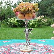 РЕДКОСТЬ(!) Старинная высокая ваза,серебряное покрытие,хрусталь
