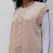 Одежда ручной работы. Ярмарка Мастеров - ручная работа Жилет вязаный из 100% мериносовой шерсти. Handmade.