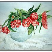 """Картины и панно ручной работы. Ярмарка Мастеров - ручная работа Картина """"Красные тюльпаны на кружеве"""". Handmade."""