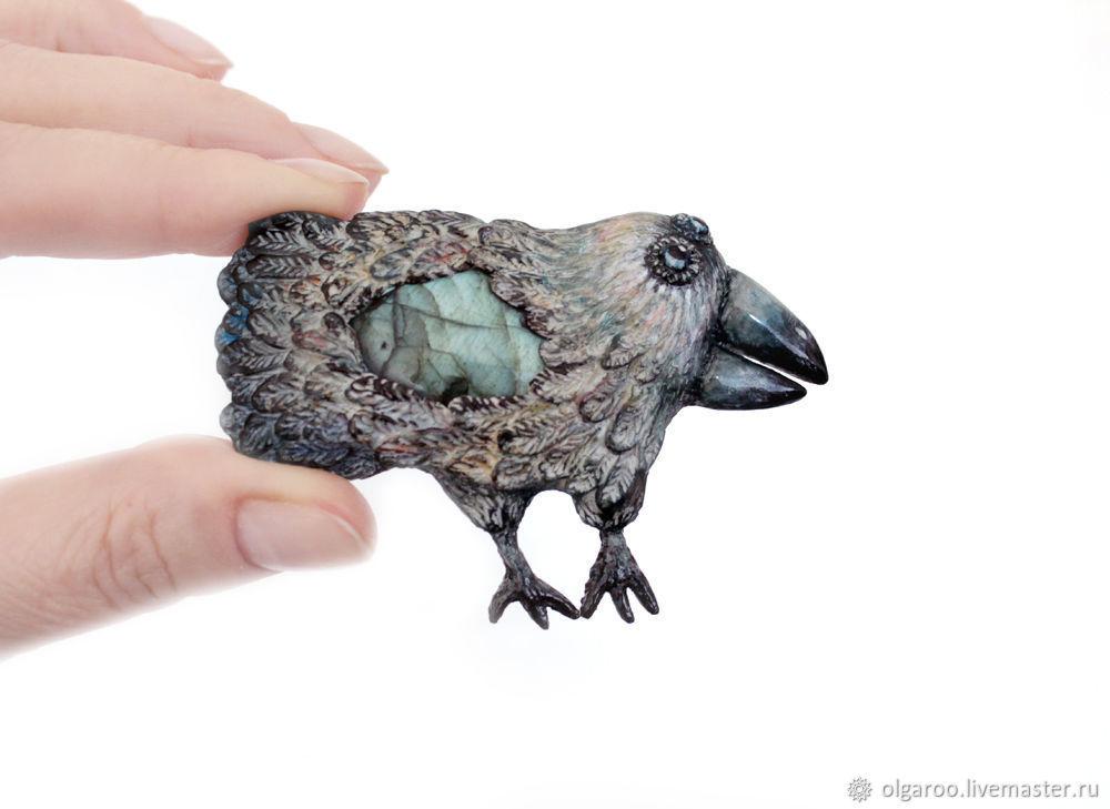 Брошь «Голубая Ворона». Брошь-птица. Брошь из полимерной глины.