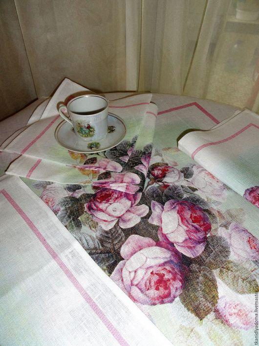 Текстиль, ковры ручной работы. Ярмарка Мастеров - ручная работа. Купить Льняная скатерть + 4 салфетки. Handmade. Белый