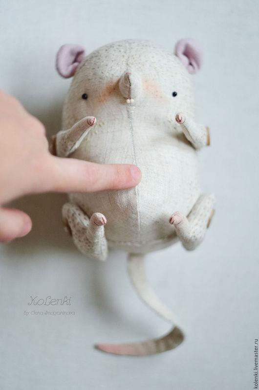 """Игрушки животные, ручной работы. Ярмарка Мастеров - ручная работа. Купить Мышь """"Крупяная"""" льняная. Handmade. Бежевый, текстильная игрушка"""