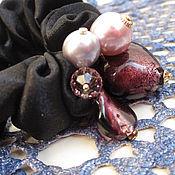 """Украшения ручной работы. Ярмарка Мастеров - ручная работа резинка для волос """"Тёмный пурпур"""". Handmade."""