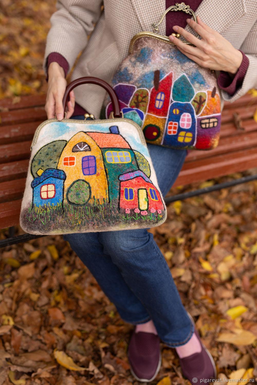 валяная сумка с домиками, Сумка с фермуаром, Ташкент,  Фото №1