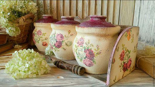 """Кухня ручной работы. Ярмарка Мастеров - ручная работа. Купить """"Россыпь роз"""" Полка с баночками.. Handmade. Полочка для специй, розочки"""