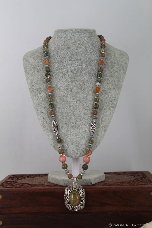 Long necklace with a pendant of NAT. stones (unakite, rhyolite,agate, rhodonite), Necklace, Velikiy Novgorod,  Фото №1