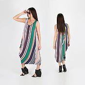 Одежда handmade. Livemaster - original item Summer Striped Jersey Dress Off White DR0232TR. Handmade.