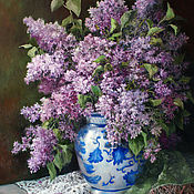 Pictures handmade. Livemaster - original item Painting-still Life with a bouquet of lilacs. Handmade.