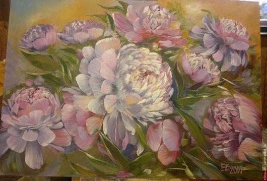 Картины цветов ручной работы. Ярмарка Мастеров - ручная работа. Купить Сиреневые пионы. Handmade. Комбинированный, букет пионов, цветы