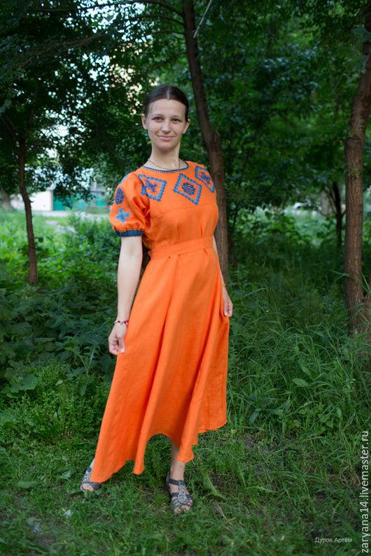 Платья ручной работы. Ярмарка Мастеров - ручная работа. Купить Оранжевое платье с орнаментом. Handmade. Оранжевый, славянское платье