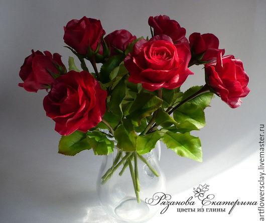 Букеты ручной работы. Ярмарка Мастеров - ручная работа. Купить Букет из 11 роз (полимерная глина). Handmade. Бордовый